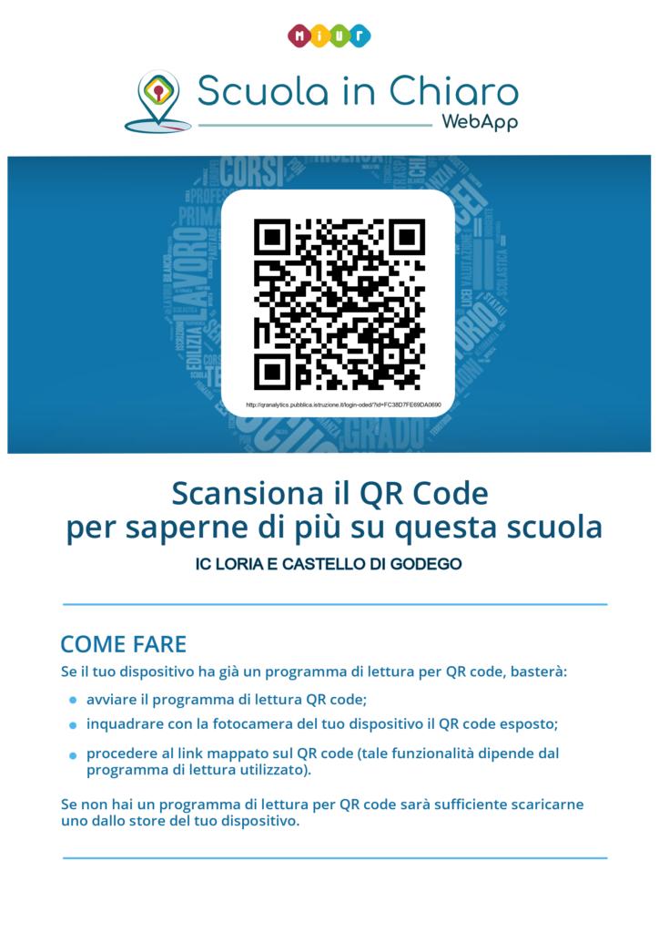 Poster codice QR dinamico istituto Comprensivo Statale di Loria e Castello di Godego
